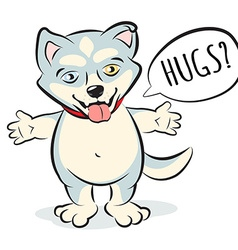 Husky puppy character standing and offering to hug vector