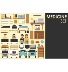 Medical big collection in flat design background vector