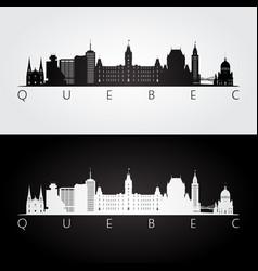 Quebec skyline and landmarks silhouette vector