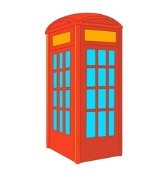 Red telephone box icon cartoon style vector image