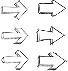 set of arrows drawn vector image