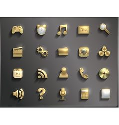 Set of metal icons with shadow volume vector image
