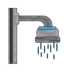 shower faucet open vector image vector image