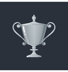 Silver cup of winner on gray background vector