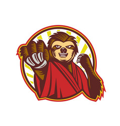 Sloth fighter self defense circle mascot vector