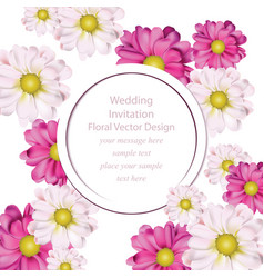 spring flowers bouquet round card background vector image vector image