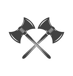 Two crossed battleaxes battle axes Black on white vector image vector image