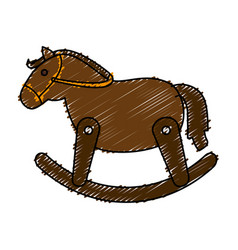 wooden horse cute toy vector image vector image