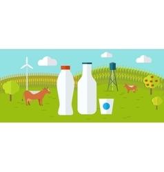 Organic Milk Farm Concept Web Banner vector image
