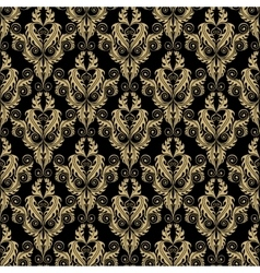 Golden damask seamless pattern vector