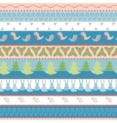 Christmas border seamless pattern vector image