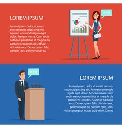 Business man angry at podium Business woman gives vector image