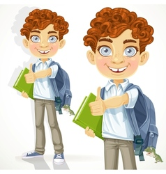Cute curly-haired boy with books and school vector