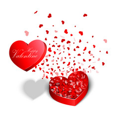 Valentines day red heart shaped boxes vector