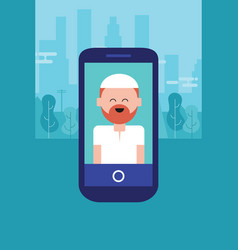 Islam face people character man on phone arabic vector