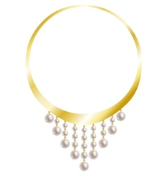 Gold necklace with pearl vector
