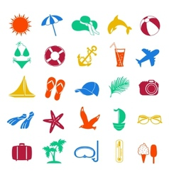 Colorful summer icons on white background vector