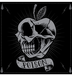Poison apple skull vector