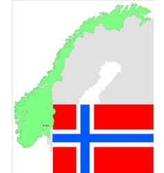 6134 norway map and flag vector