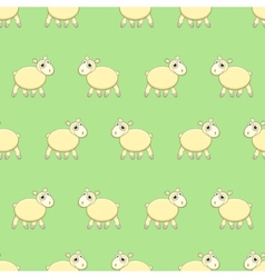 Seamless pattern with cute sheep on grass vector