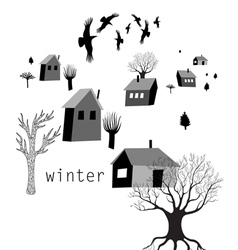 Village and crows in winter vector