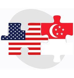 Usa and singapore flags in puzzle vector