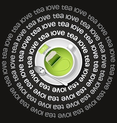Cup of heart in gree tea with tea bag vector
