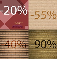 55 40 90 icon set of percent discount on abstract vector