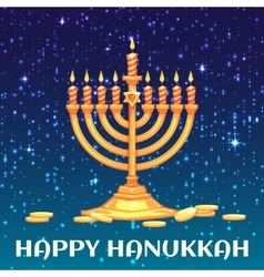 Hanukkah menorah with candles and coins vector