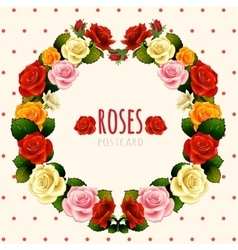 Rose wreath card on a light background vector