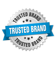 Trusted brand 3d silver badge with blue ribbon vector