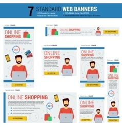 Seven standard size web banners - online shopping vector