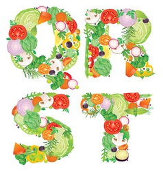 Alphabet of vegetables QRST vector image vector image