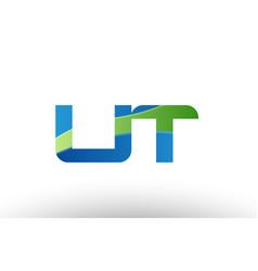blue green ut u t alphabet letter logo vector image vector image