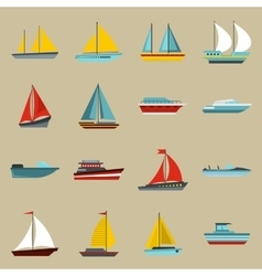 Boat and ship icons set flat style vector image vector image