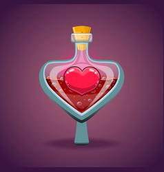 Bottle with heart magic elixir vector