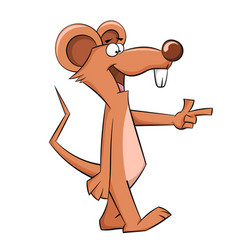 brown funny mouse is pointing vector image