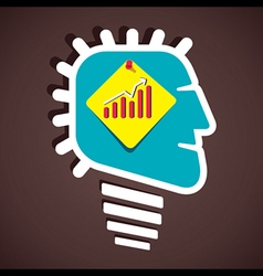 business graph on paper note in human head vector image vector image