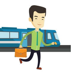 Business man at train station vector