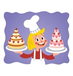 Cake chef little girl vector