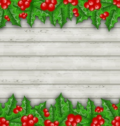 Christmas decoration holly berry branches on vector image vector image
