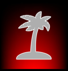 Coconut palm tree sign postage stamp or old photo vector