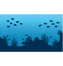 Collection of underwater landscape with fish vector