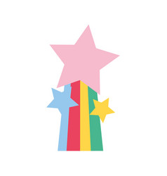 Colorful shiny stars design with rainbow icon vector