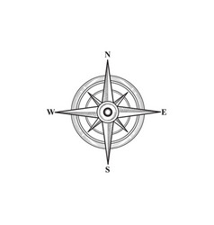 compass sign wind rose hand sketch symbol vector image vector image