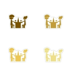 Concept paper stickers on white background couple vector