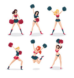 Girl cheerleaders isolated on white set people vector