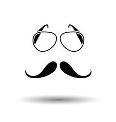 Glasses and mustache icon vector