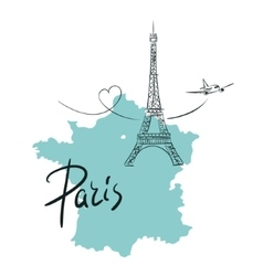 Hand drawn with Eiffel tower Paris vector image vector image