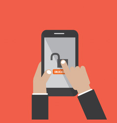 Hands hold smartphone with unlock screen vector